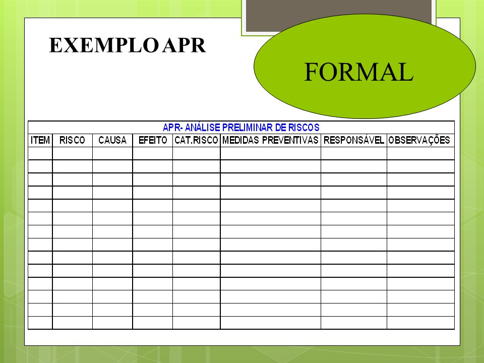 EXEMPLO APR FORMAL