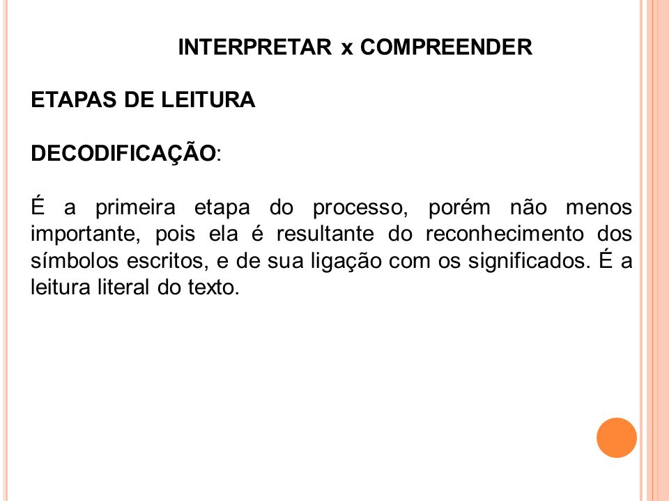 INTERPRETAR x COMPREENDER