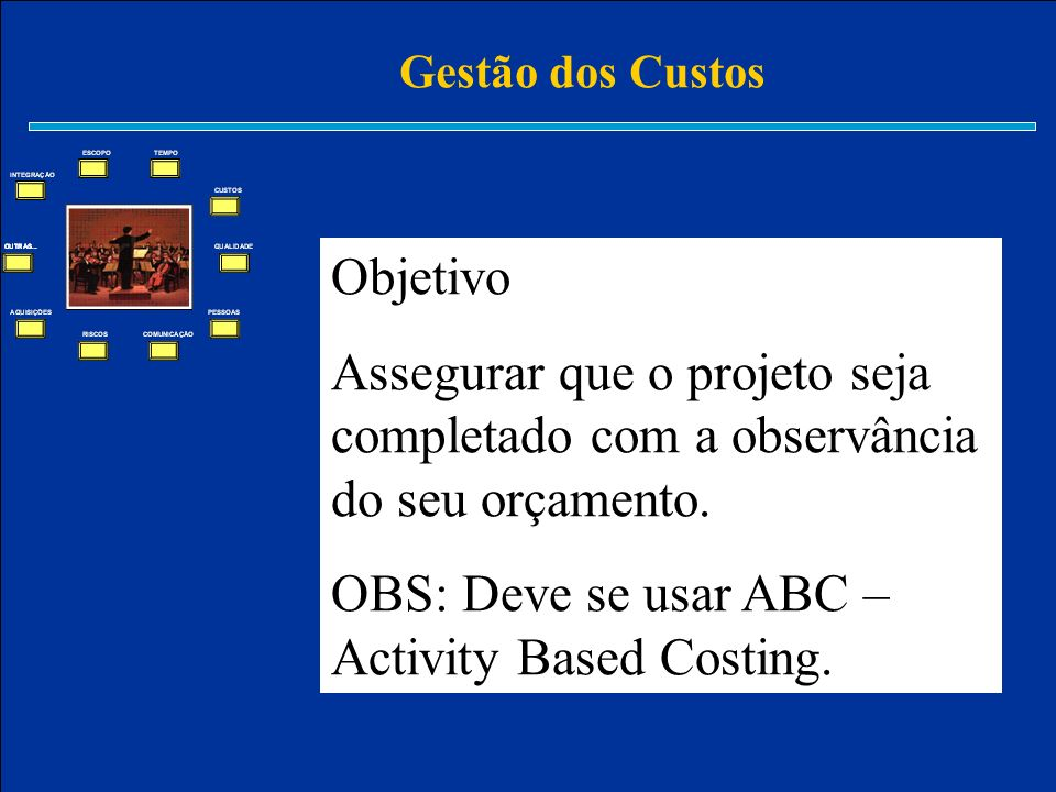 OBS: Deve se usar ABC – Activity Based Costing.