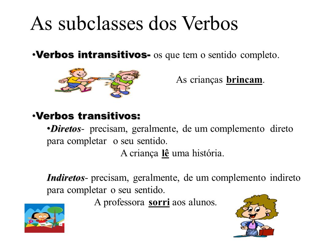 As subclasses dos Verbos