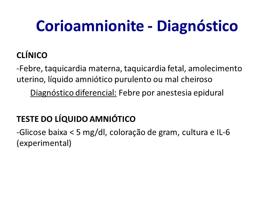 Corioamnionite - Diagnóstico