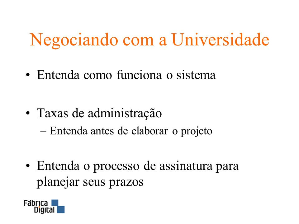 Negociando com a Universidade