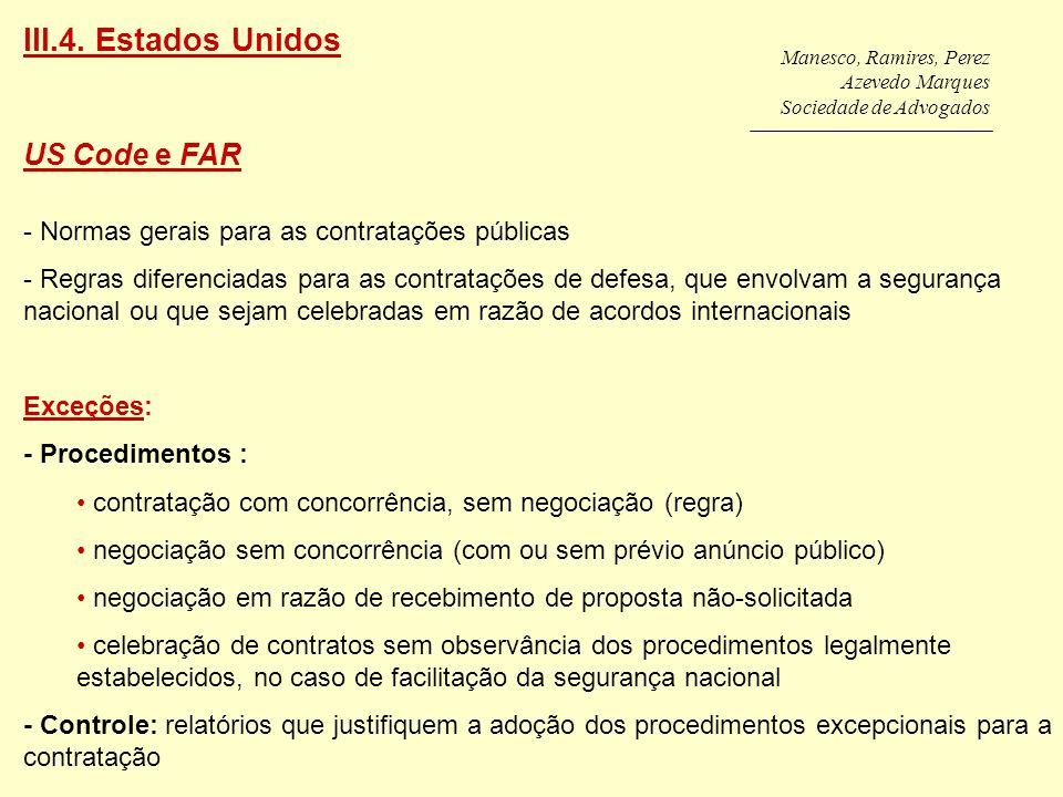 III.4. Estados Unidos US Code e FAR