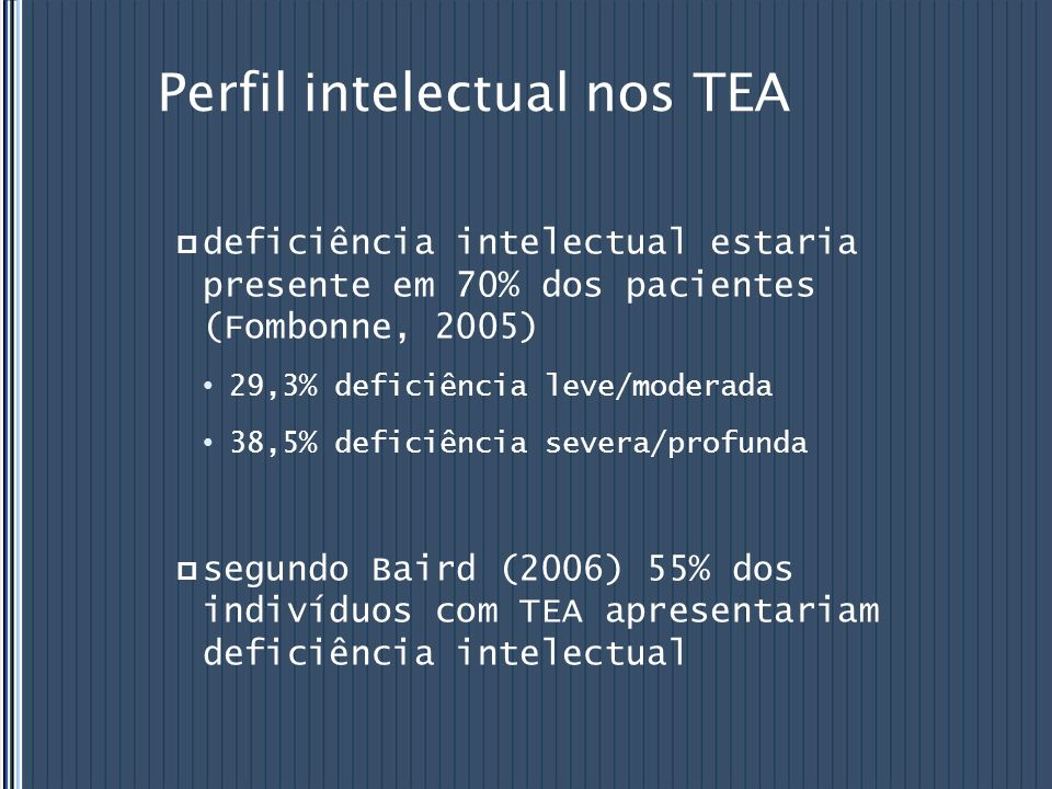 Perfil intelectual nos TEA