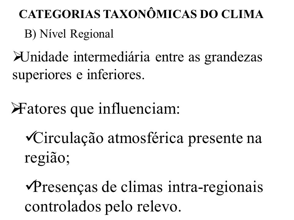 CATEGORIAS TAXONÔMICAS DO CLIMA
