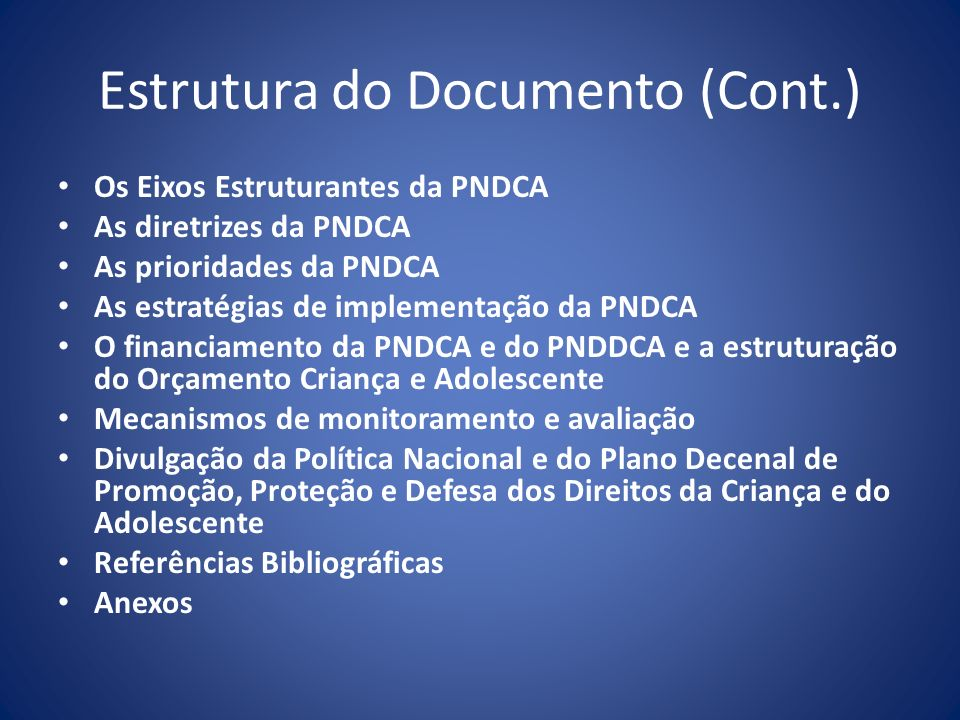 Estrutura do Documento (Cont.)