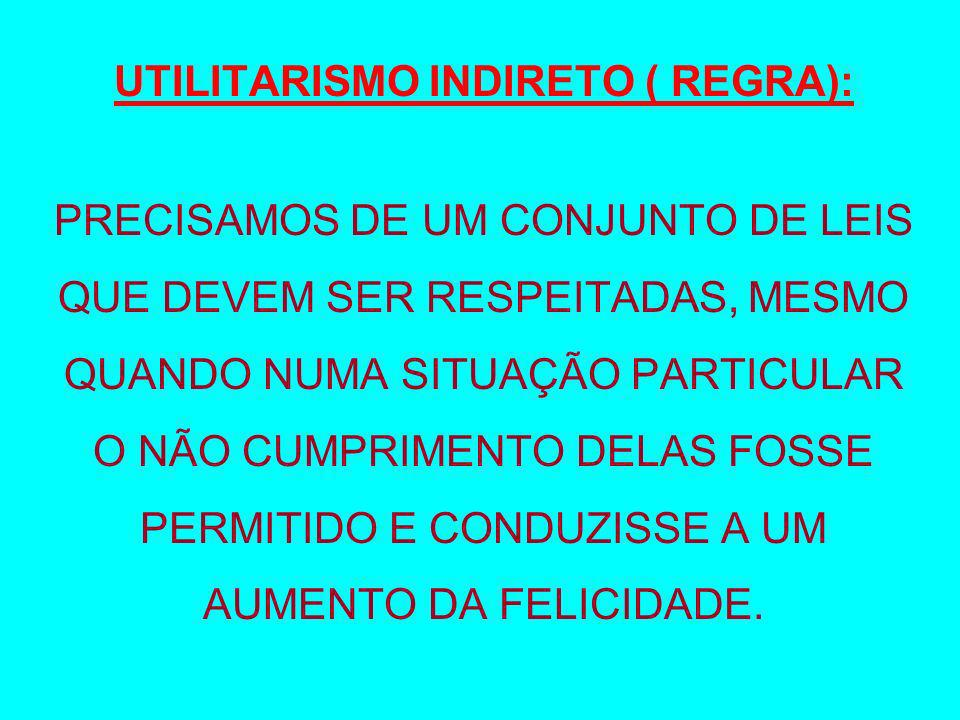 UTILITARISMO INDIRETO ( REGRA):