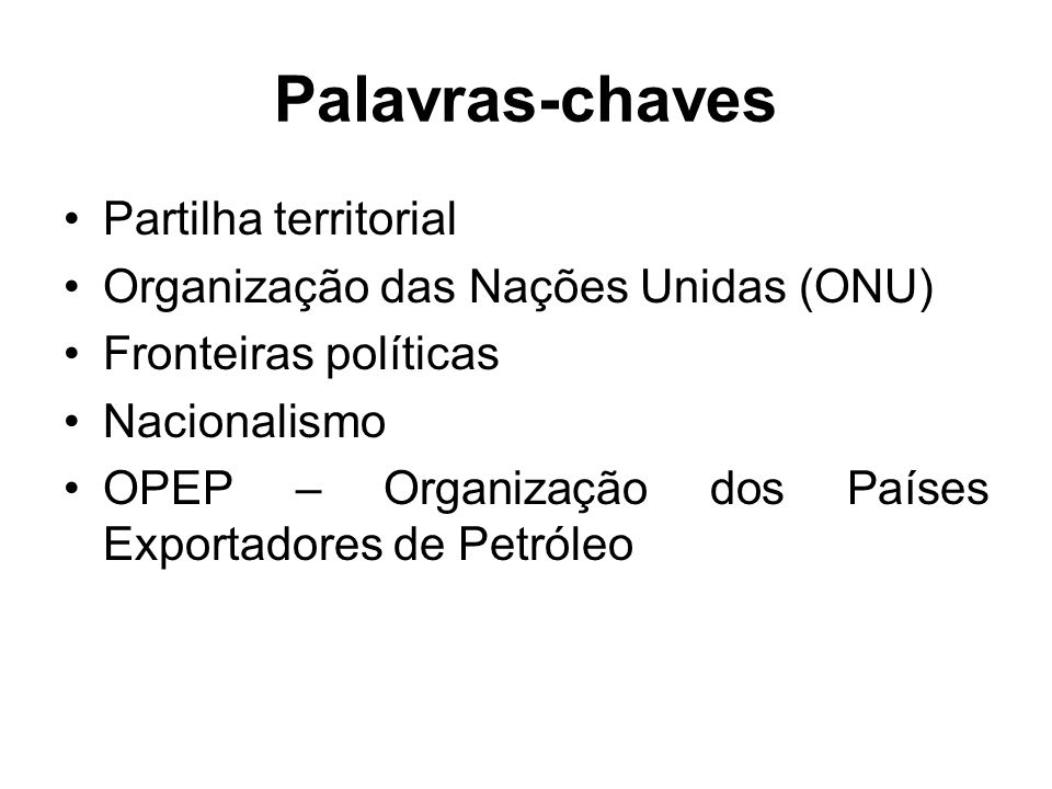 Palavras-chaves Partilha territorial