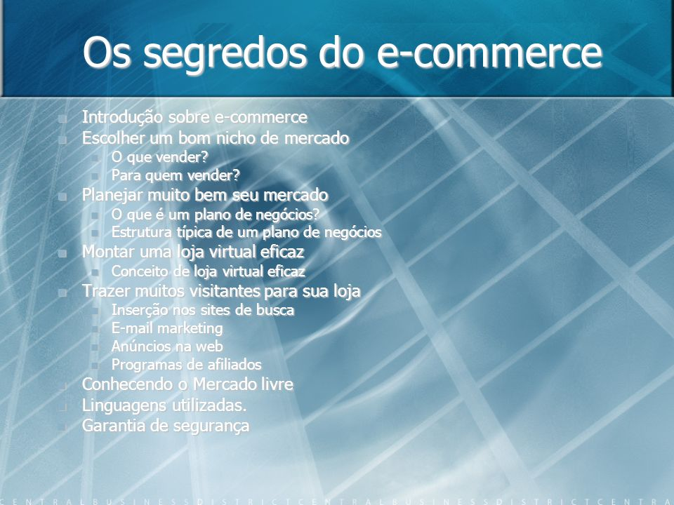 Os segredos do e-commerce
