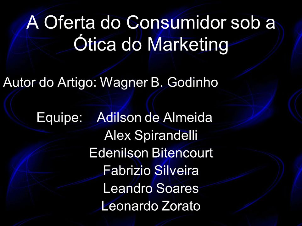 A Oferta do Consumidor sob a Ótica do Marketing