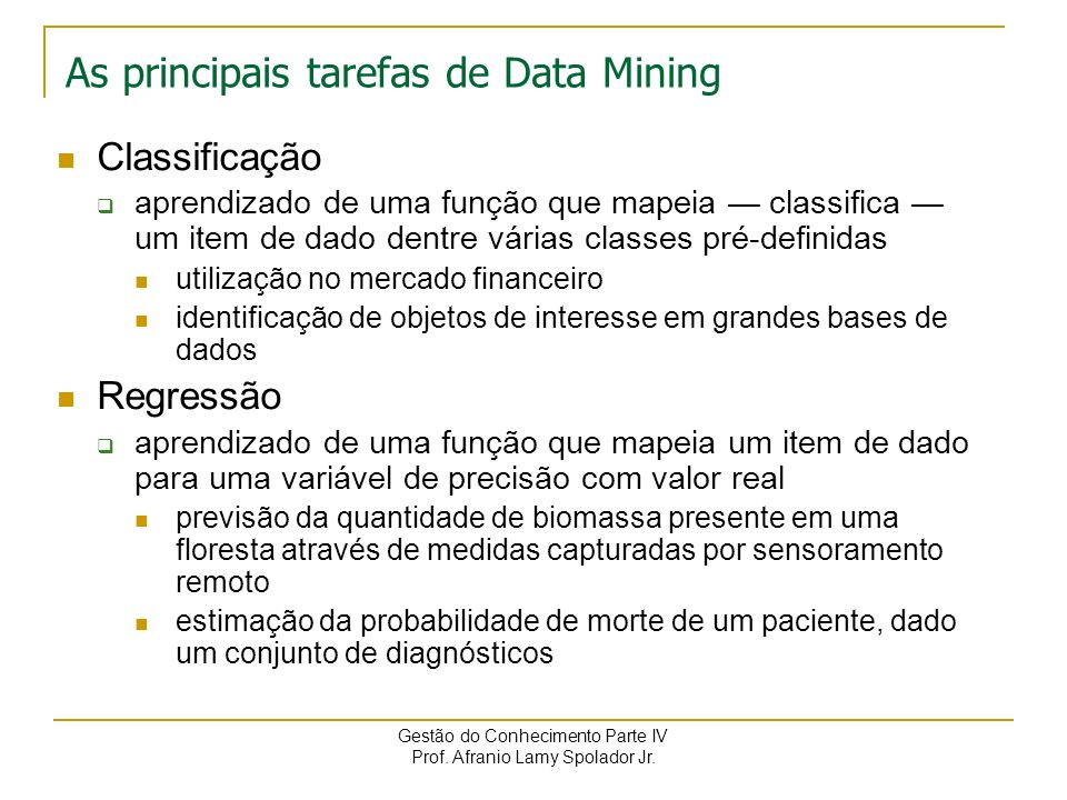 As principais tarefas de Data Mining