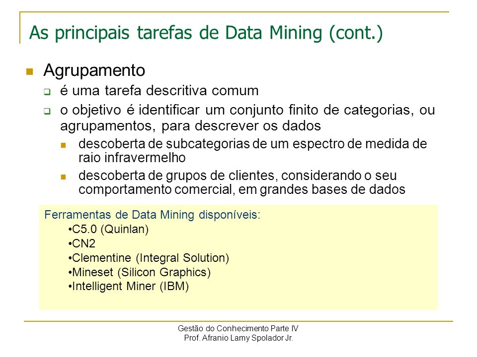 As principais tarefas de Data Mining (cont.)