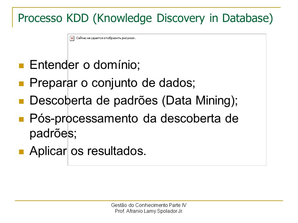 Processo KDD (Knowledge Discovery in Database)
