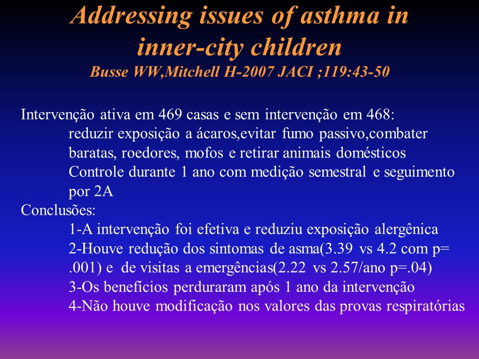 Addressing issues of asthma in inner-city children Busse WW,Mitchell H-2007 JACI ;119:43-50