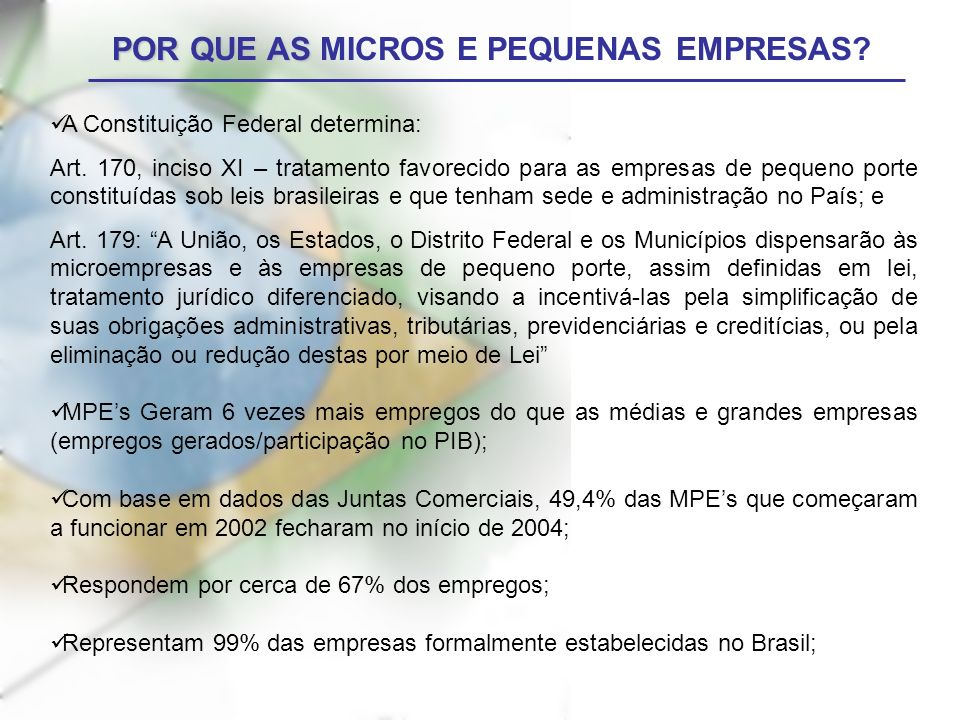 POR QUE AS MICROS E PEQUENAS EMPRESAS