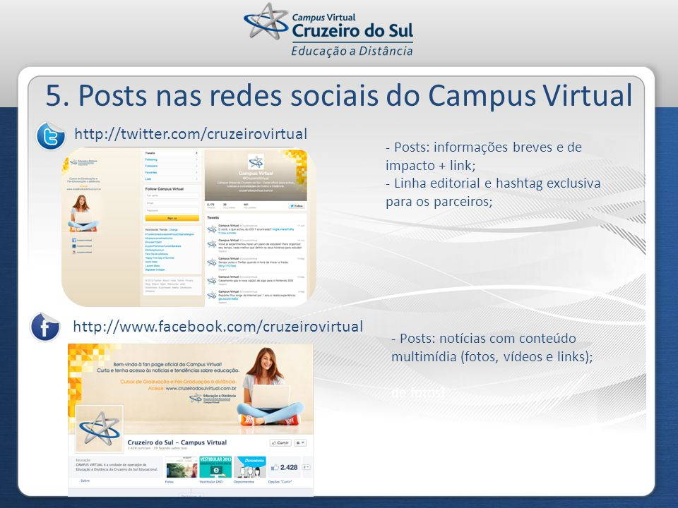 5. Posts nas redes sociais do Campus Virtual