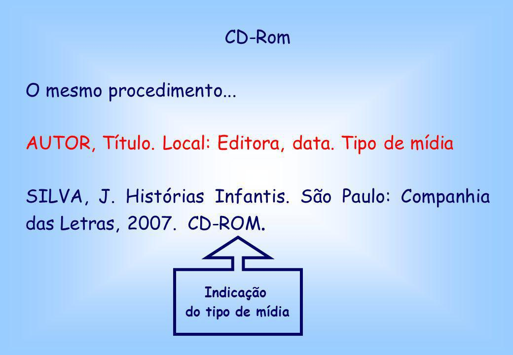 AUTOR, Título. Local: Editora, data. Tipo de mídia
