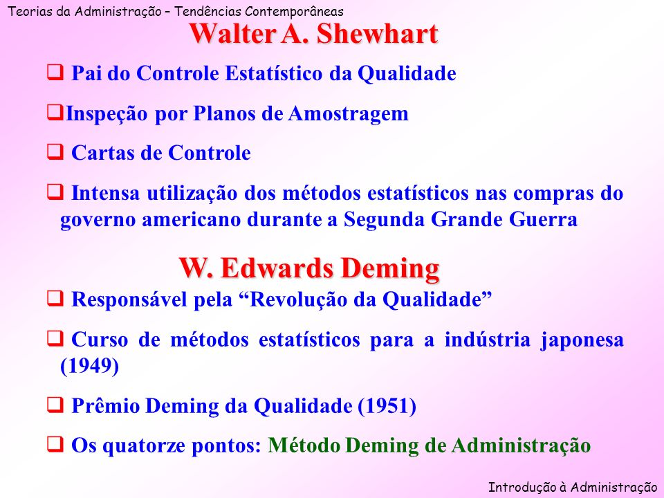 Walter A. Shewhart W. Edwards Deming