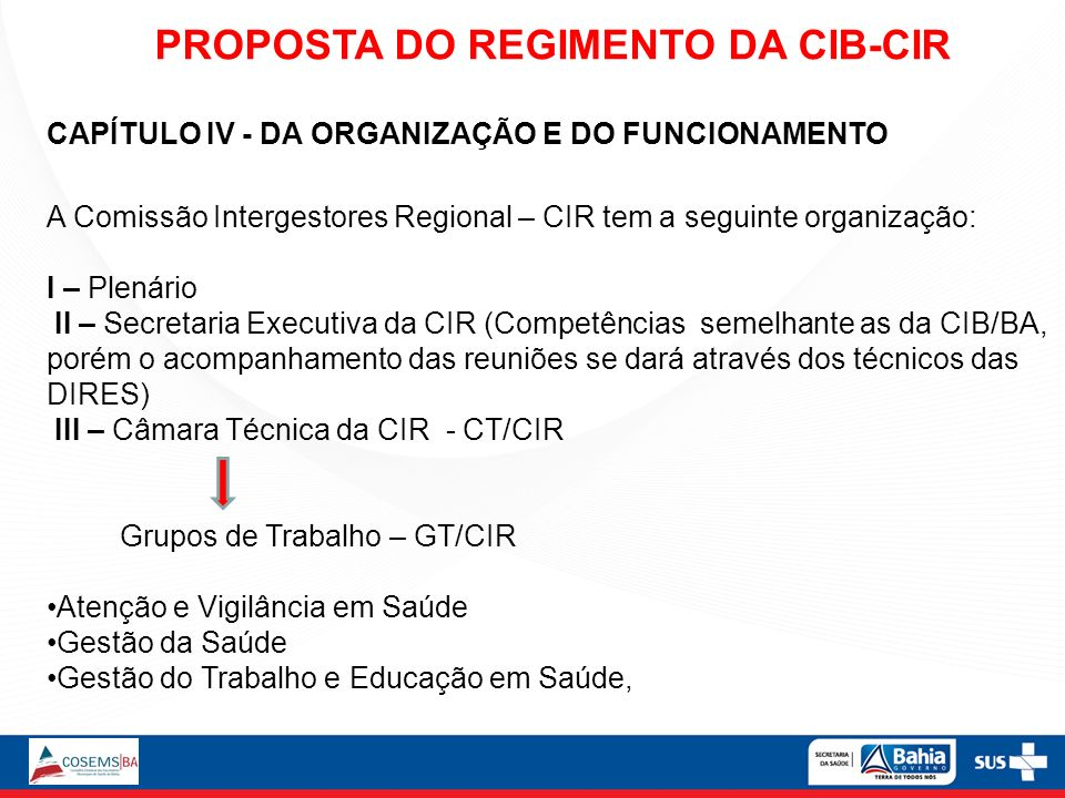 PROPOSTA DO REGIMENTO DA CIB-CIR