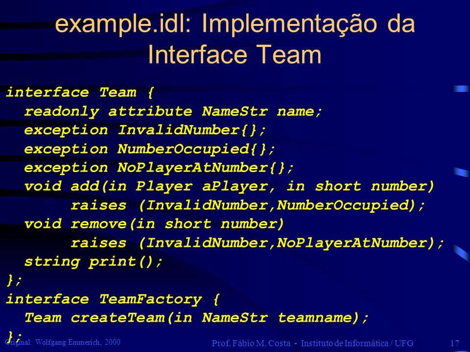example.idl: Implementação da Interface Team