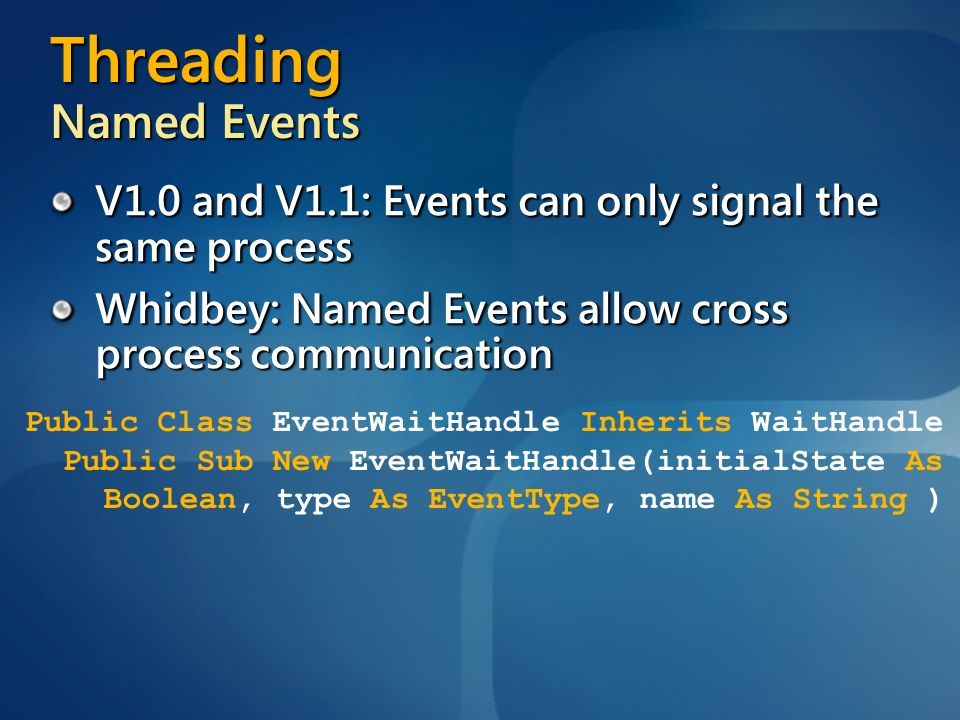 Threading Named Events