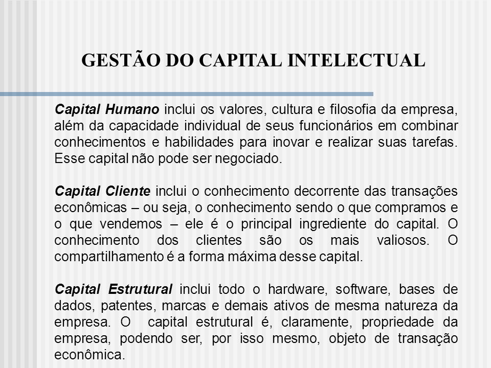 GESTÃO DO CAPITAL INTELECTUAL