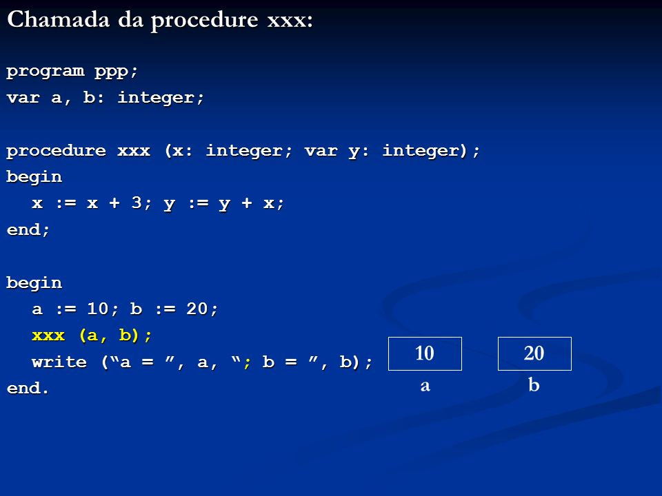Chamada da procedure xxx: