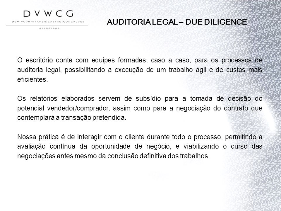 AUDITORIA LEGAL – DUE DILIGENCE