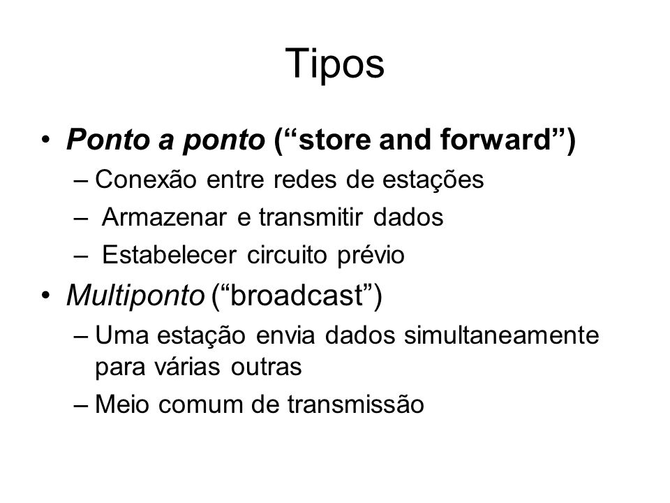 Tipos Ponto a ponto ( store and forward ) Multiponto ( broadcast )
