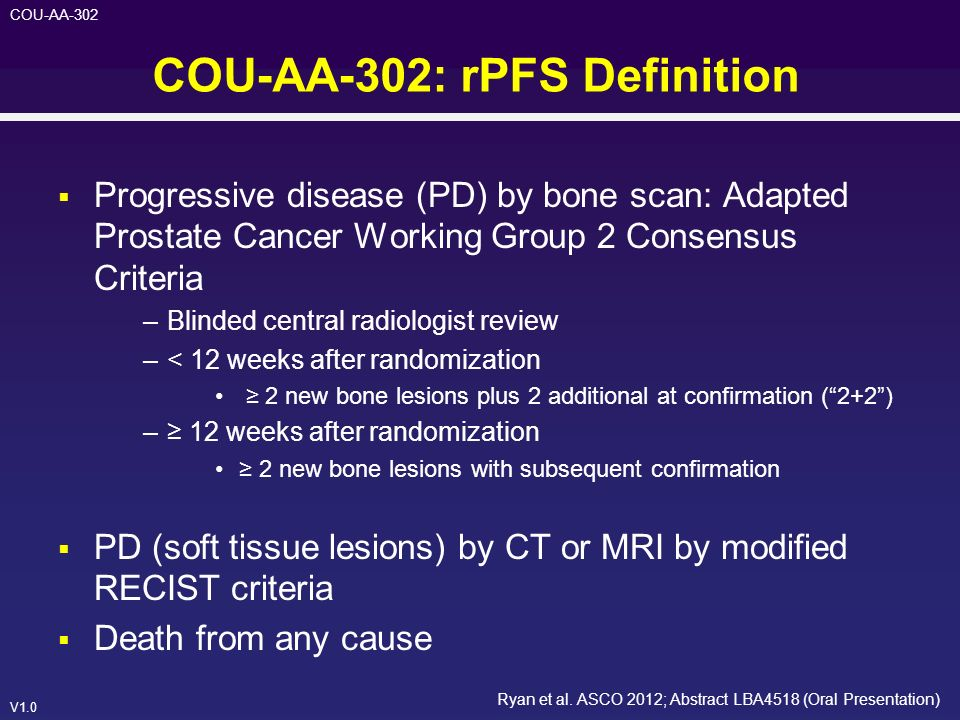 COU-AA-302: rPFS Definition