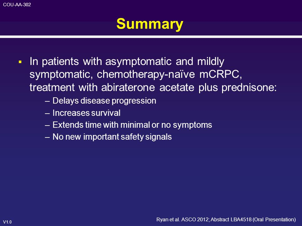 Summary In patients with asymptomatic and mildly symptomatic, chemotherapy-naïve mCRPC, treatment with abiraterone acetate plus prednisone: