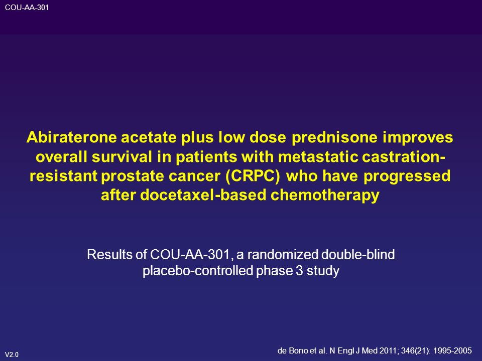 Abiraterone acetate plus low dose prednisone improves overall survival in patients with metastatic castration-resistant prostate cancer (CRPC) who have progressed after docetaxel-based chemotherapy