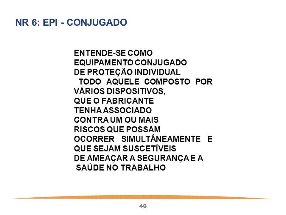 NR 6  EPI - CONJUGADO ENTENDE-SE COMO EQUIPAMENTO CONJUGADO f1ca748773