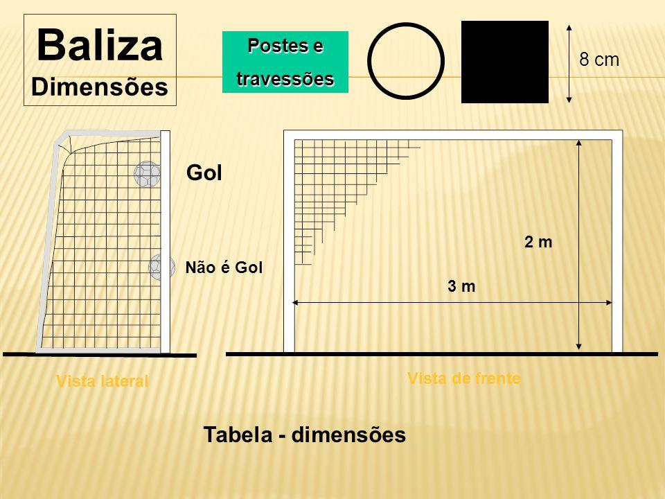 43b019a22a Baliza Dimensões Gol Tabela - dimensões Postes e travessões 8 cm 2 m