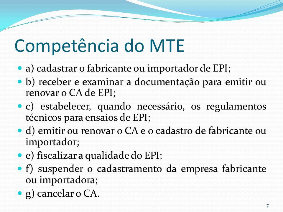 7 Competência do MTE a) cadastrar o fabricante ou importador de EPI  04e1099aca