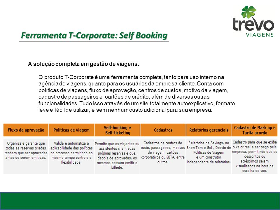 Ferramenta T-Corporate: Self Booking