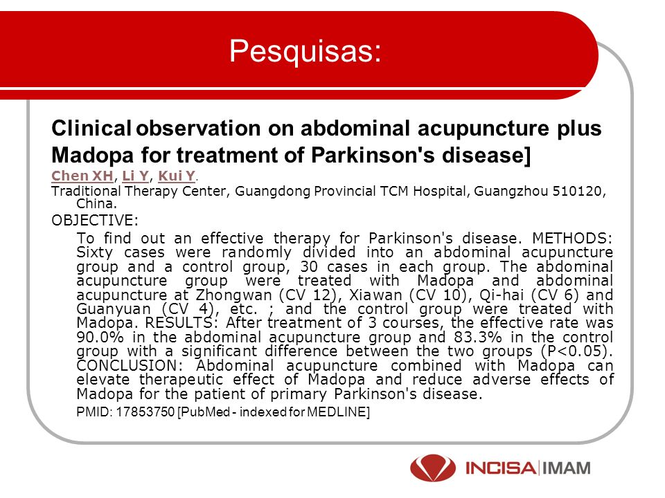 Pesquisas: Clinical observation on abdominal acupuncture plus