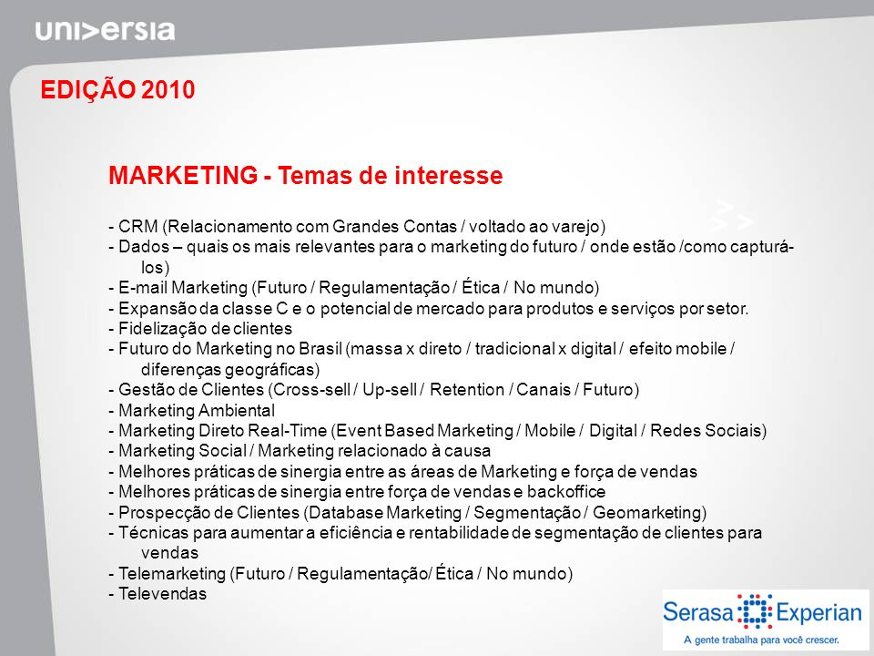 MARKETING - Temas de interesse