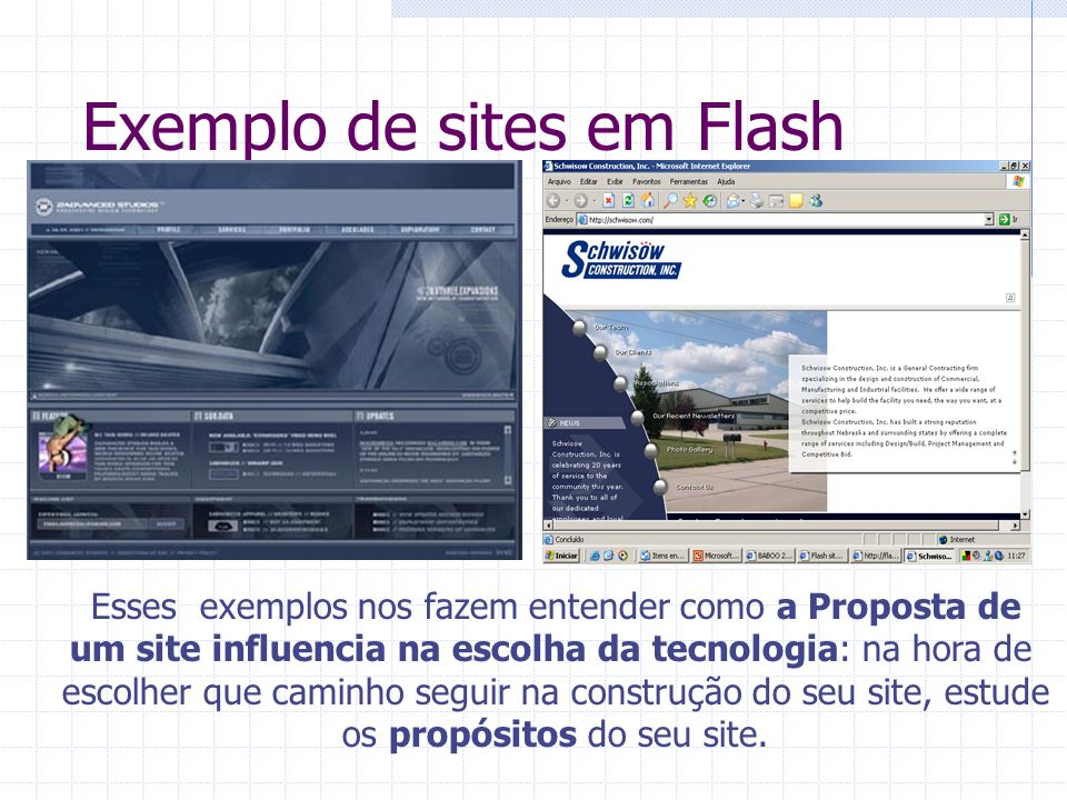 Exemplo de sites em Flash