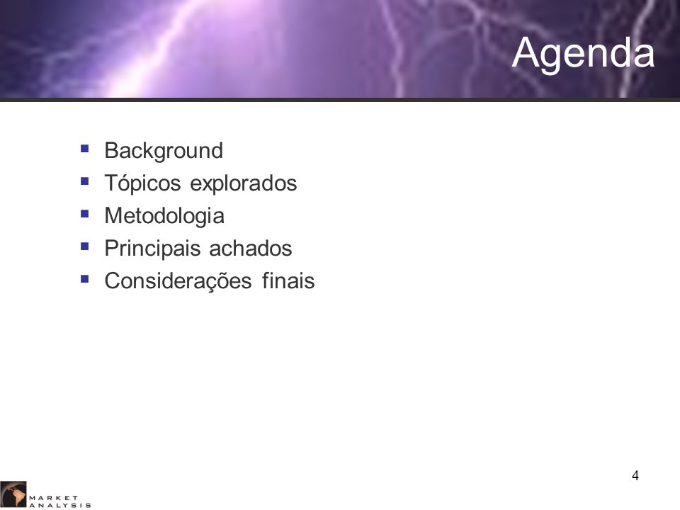 Agenda Background Tópicos explorados Metodologia Principais achados