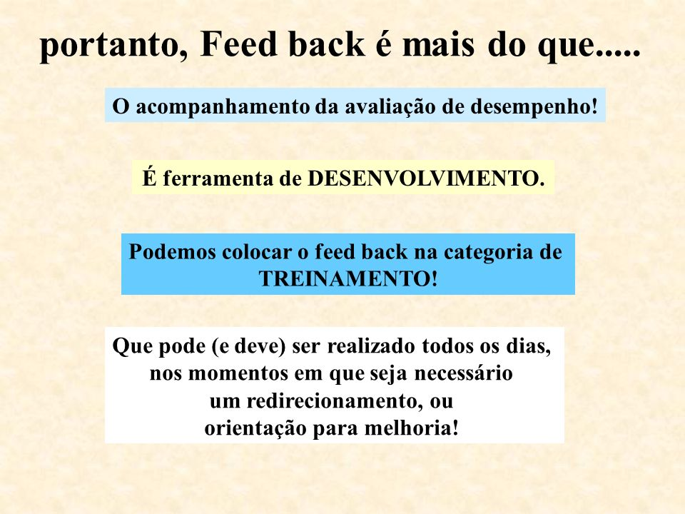 portanto, Feed back é mais do que.....