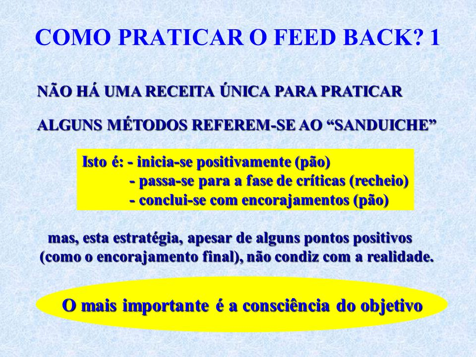 COMO PRATICAR O FEED BACK 1