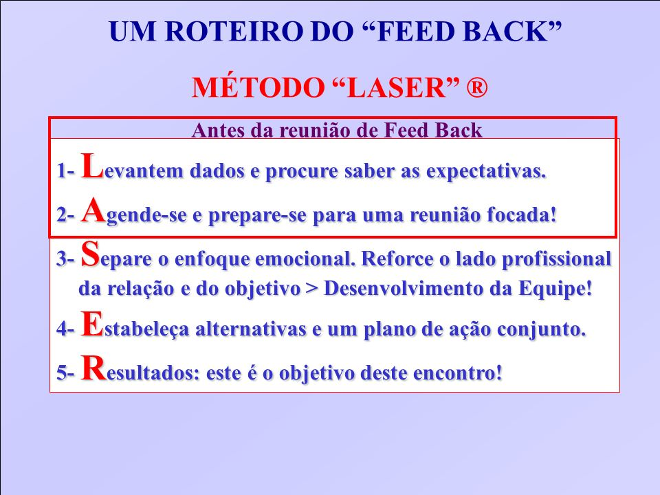 UM ROTEIRO DO FEED BACK