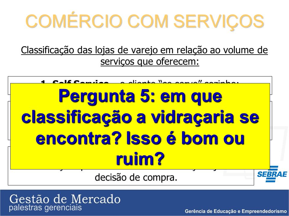 1. Self Service – o cliente se serve sozinho;