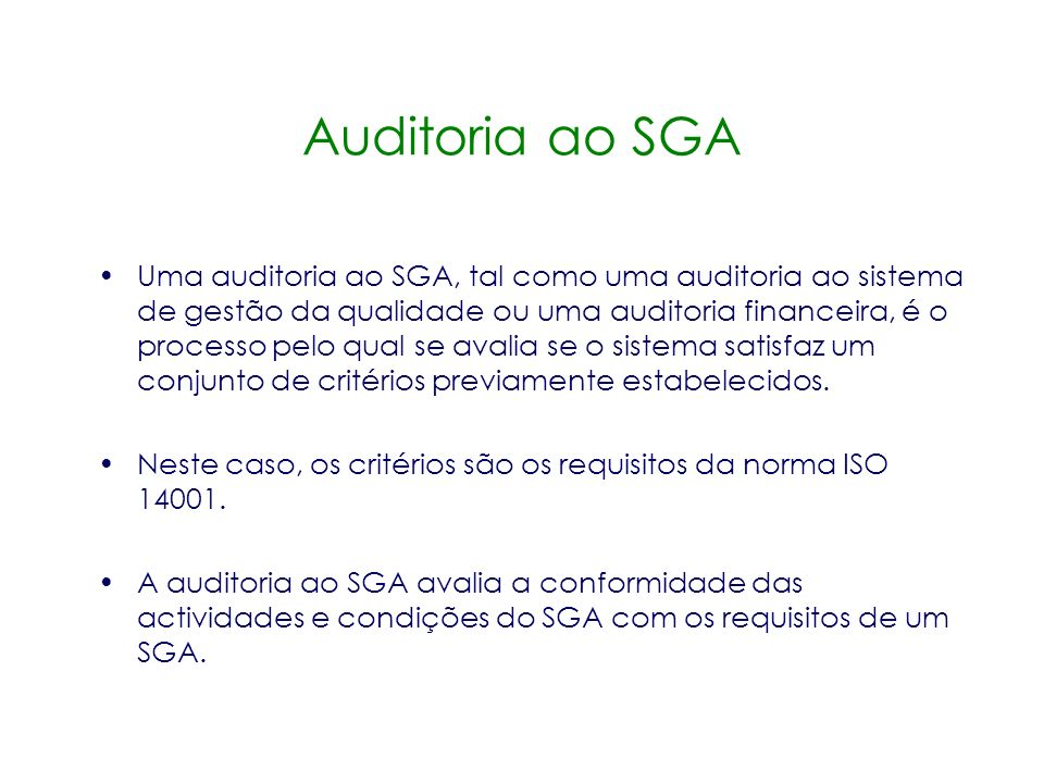 Auditoria ao SGA