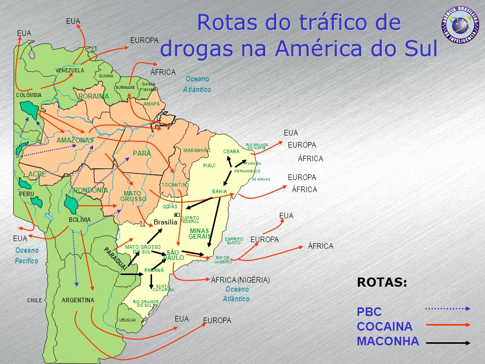 Rotas do tráfico de drogas na América do Sul
