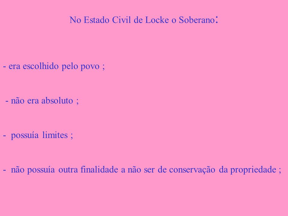 No Estado Civil de Locke o Soberano:
