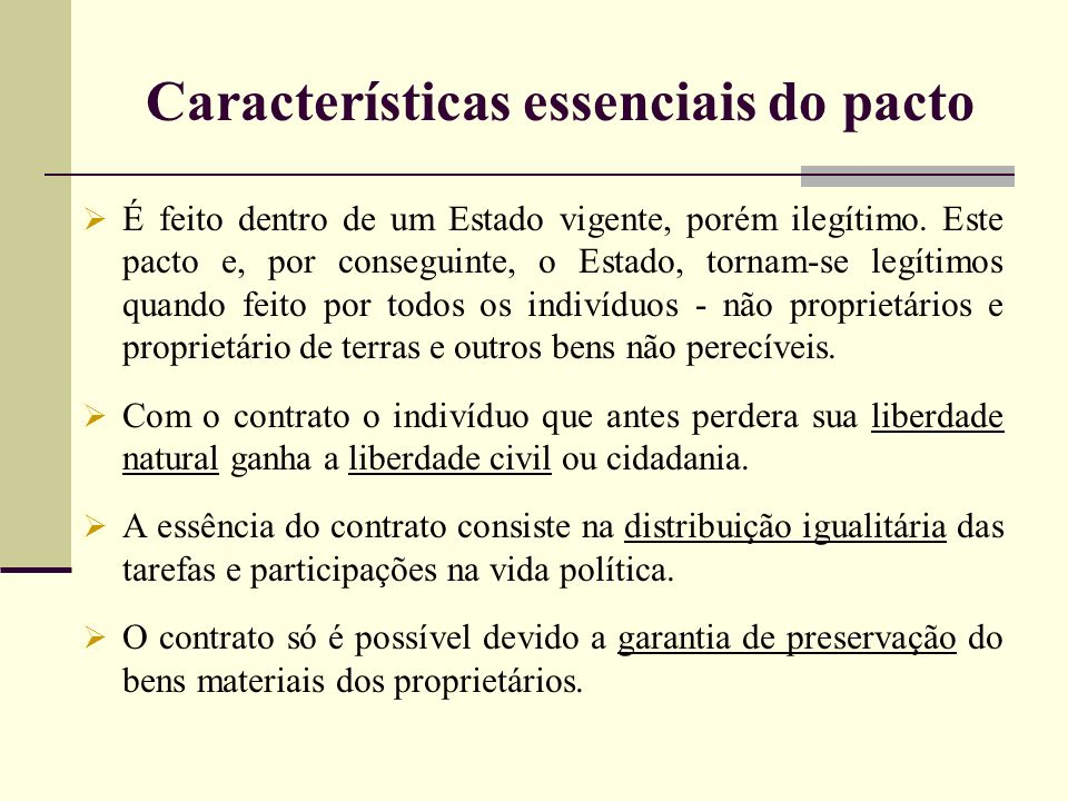 Características essenciais do pacto