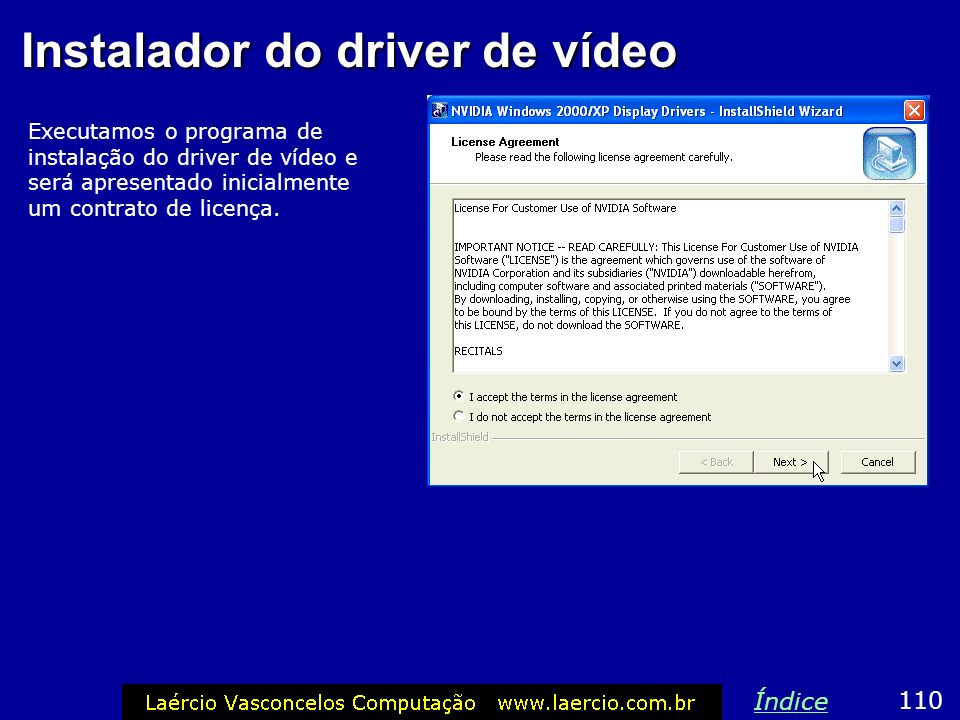Instalador do driver de vídeo