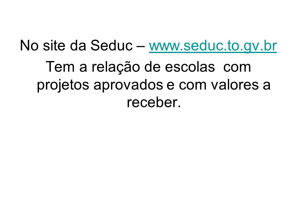 No site da Seduc –